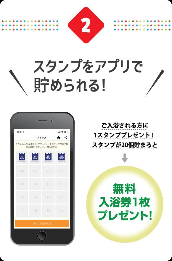 2.スタンプをアプリで貯められる! ご入浴される方に1スタンププレゼント!スタンプが20個貯まると → 無料入浴券1枚プレゼント!